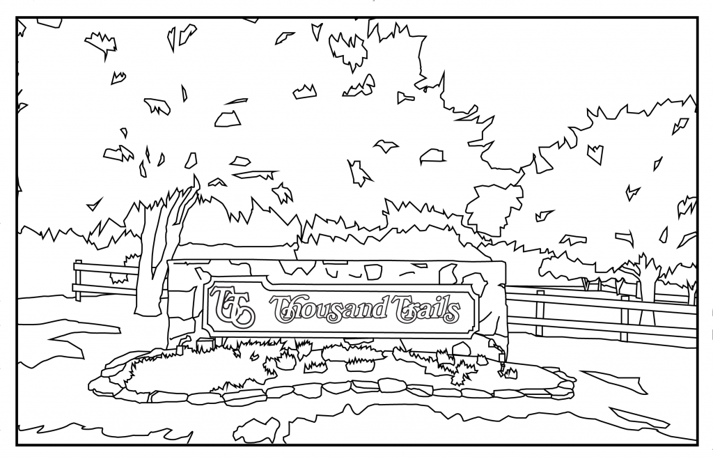 Thousand Trails sign coloring page