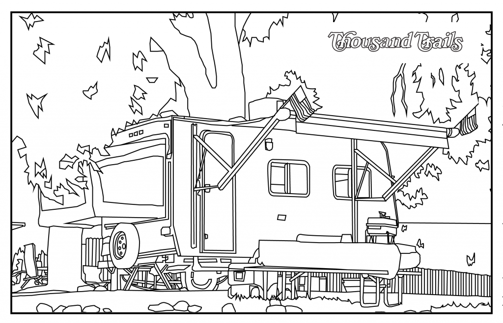 RV in a campground coloring page