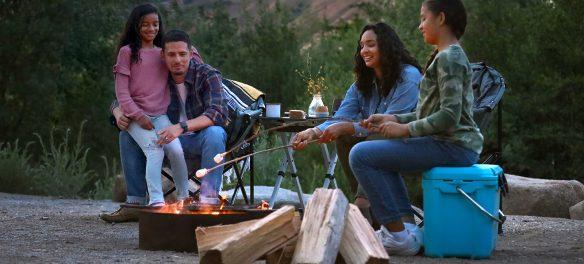 Family around a campfire